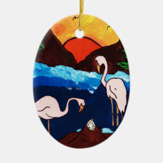 NEW BEGINNINGS Double-Sided OVAL CERAMIC CHRISTMAS ORNAMENT