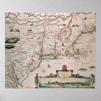 New Belgium, plate from 'Atlas Contractus' c.1671 Poster
