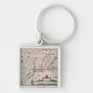 New Belgium, plate from 'Atlas Contractus' c.1671 Silver-Colored Square Keychain