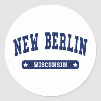 New Berlin Wisconsin College Style tee shirts Round Sticker