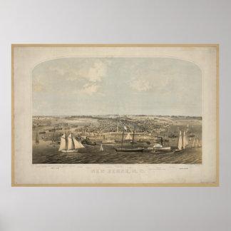 New Bern North Carolina 1864 Antique Panoramic Map Poster