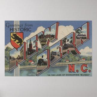 New Bern, North Carolina - Large Letter Scenes Poster