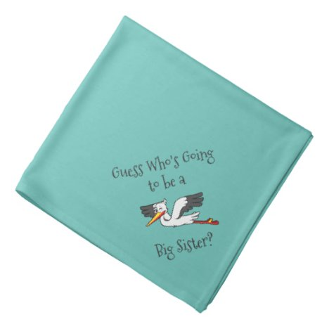 New Big Sister and Stork Teal Pet Bandana