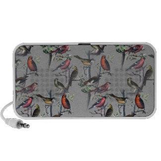 New Birds pattern accessories, vintage art grey Laptop Speaker
