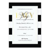 NEW Black & White Stripe Baby Boy Shower Gold Card