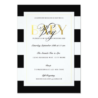 NEW Black & White Stripe Baby Boy Shower Gold Card