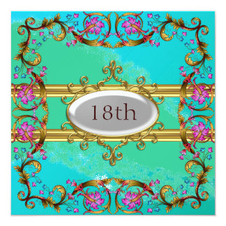 New Blue Teal Birthday Party Flower Frame Card