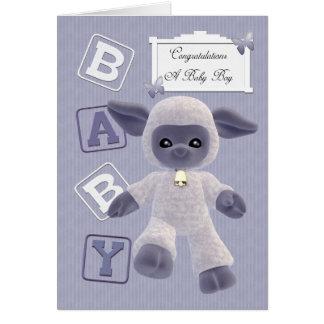 new born baby boy congratulations with lamb card