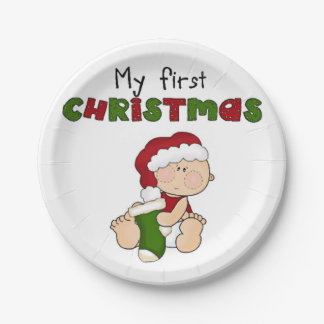 New Born Baby First Christmas Paper Plates Retro