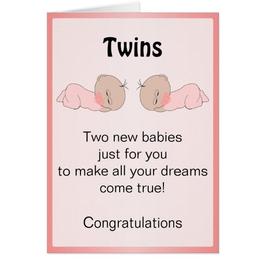 New Born Baby Twins Card