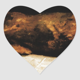New-Born Calf Lying on Straw by Vincent van Gogh Heart Sticker
