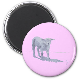 New born lamb pencil sketch 2 inch round magnet