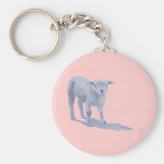 New born lamb pencil sketch basic round button keychain