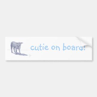 New born lamb pencil sketch bumper sticker