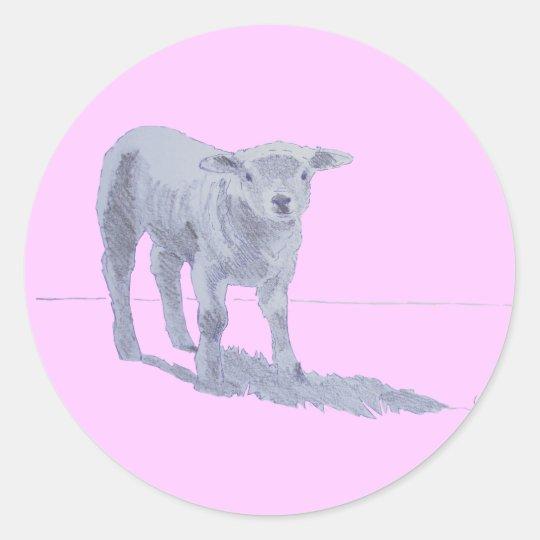 New born lamb pencil sketch classic round sticker