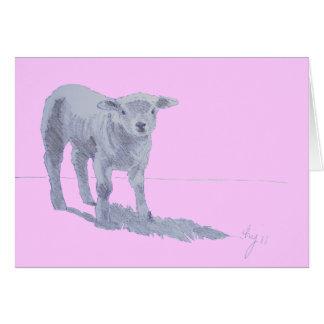 New born lamb pencil sketch greeting card
