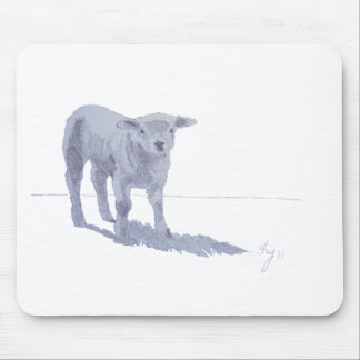 New born lamb pencil sketch mouse pad