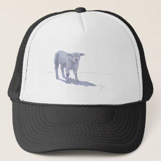 New born lamb pencil sketch trucker hat