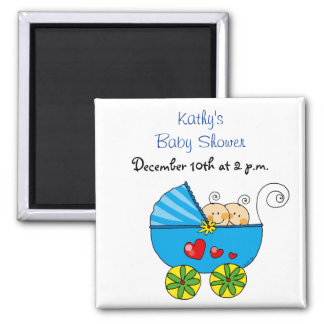 New boy twin babies in a pram 2 inch square magnet