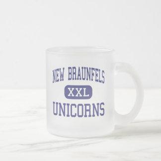 New Braunfels - Unicorns - High - New Braunfels Frosted Glass Coffee Mug