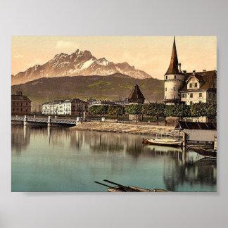 New Bridge and Pilatus, Lucerne, Switzerland class Poster