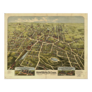 New Britain Connecticut 1875 Panoramic Map Poster