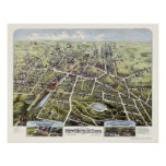 New Britain, mapa panorámico del CT - 1875 Póster