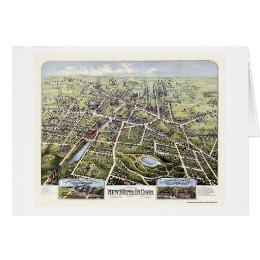 New Britain, mapa panorámico del CT - 1875 Tarjeta De Felicitación