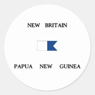 New Britain Papau New Guinea Alpha Dive Flag Classic Round Sticker