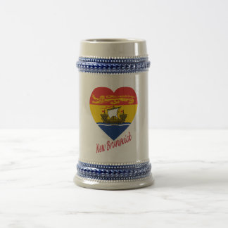 New Brunswick Flag Heart with Name Beer Stein