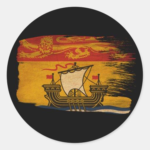 New Brunswick Flag Round Stickers