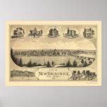 New Brunswick, NJ Panoramic Map - 1880 Poster