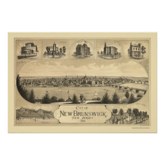 New Brunswick, NJ Panoramic Map - 1880 Poster