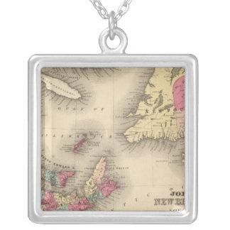 New Brunswick, Nova Scotia, Newfoundland 3 Square Pendant Necklace