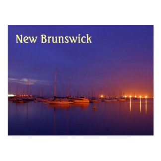 New Brunswick sailboats in marina at dusk postcard