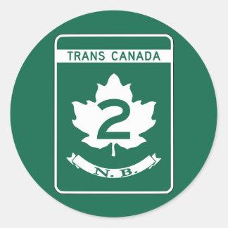 New Brunswick, Trans-Canada Highway Sign Classic Round Sticker