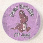 New Bundle of Joy! Purple back, purple dinosaur Beverage Coaster
