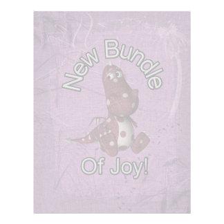 New Bundle of Joy! Purple back, purple dinosaur Customized Letterhead