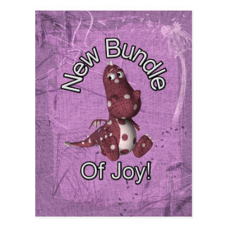 New Bundle of Joy! Purple back, purple dinosaur Post Card