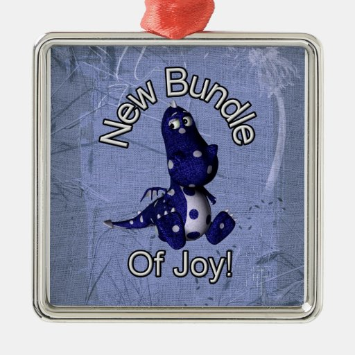 New bundle of joy with blue dino blue background square metal christmas ornament