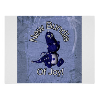 New bundle of joy with blue dino blue background poster