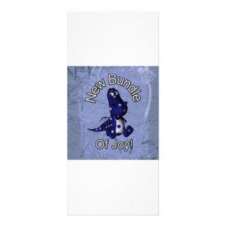 New bundle of joy with blue dino blue background rack card