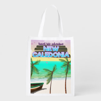 """New Caledon """"travel into adventure"""" travel poster. Reusable Grocery Bag"""