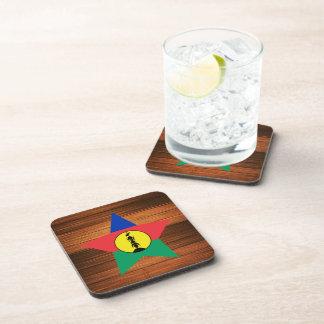 New Caledonia Flag Star on Wood Drink Coaster