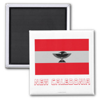 New Caledonia Flag with Name Refrigerator Magnet