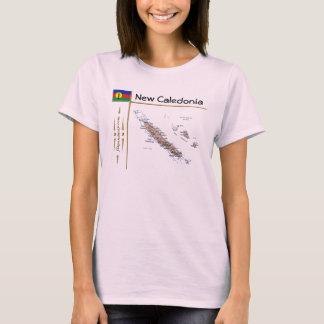 New Caledonia Map + Flag + Title T-Shirt