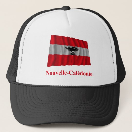 New Caledonia Waving Flag with Name in French Trucker Hat