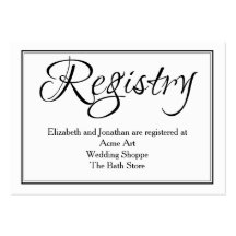 New Calligraphy Wedding Registry Information Card Pack Of Chubby Business Cards