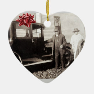 New car for Christmas! Funny old photo late 1920s Ceramic Ornament