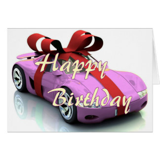 New car happy birthday card